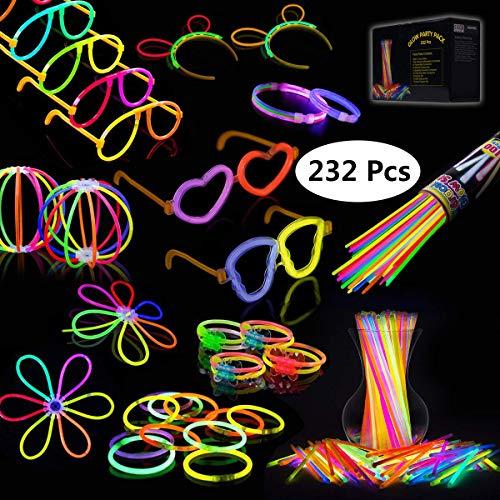 IREGRO Knicklichter 100 Stücke Leuchtstäbe Armreifen Glowstick Partylichter inkl. 100 x 2D-Verbinder, 4 x Kreisverbinder, 4 x 7-Loch-Verbinder vielfarbig