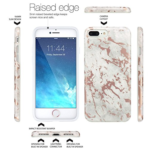Cover iPhone 8 Plus, JIAXIUFEN TPU Gel Silicone Protettivo Custodia Case Cover Per Apple iPhone 7 Plus / iPhone 8 Plus - Bianco Marmo Design Shiny Rose Gold Cloud Gray