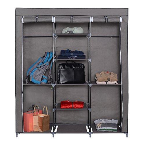 Mari Home - Ashby Grau Groß XXL Kleiderschrank Wäscheschrank Faltschrank Mit 2 Hakenstange Drei hochrollbare Türen 175 x 150 x 45 cm