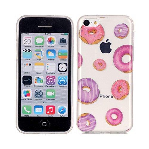 iPhone 5C Custodia Case, Clear Ultra sottile protettiva TPU Silicone Back Rubber Bumper Protector iPhone 5C copertura Cover - Flower farfalla Fiore # 9