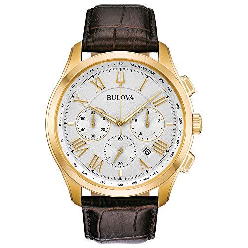 Bulova Herren Chronograph Quarz Uhr mit Leder Armband 97B169