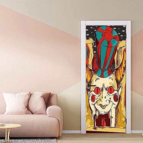 Halloween Tür Aufkleber 3D Tür Aufkleber Türschilder Großer Mund Horror Clown Halloween Kreative 3D Tür Aufkleber Persönlichkeit Holztür Dekoration Wandaufkleber