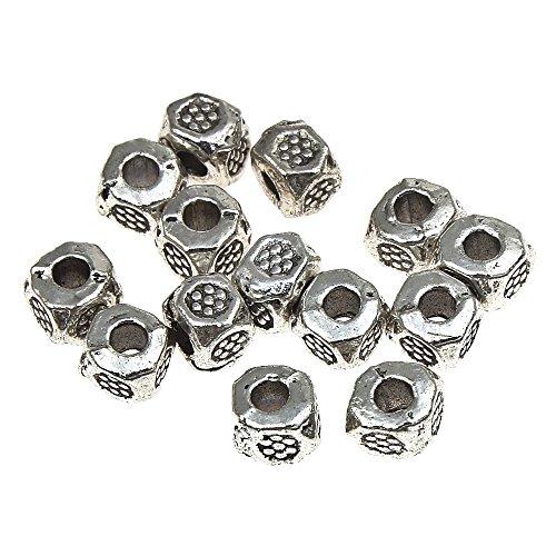 Verzierte Metallperlen 3mm Würfel Tibet Silber Spacer Schmuck Perlen 20stk F242
