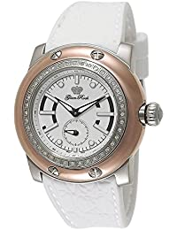 Glam Rock Summertime Damen 46mm Armband Silikon weiß Gehäuse Edelstahl Quarz zeigt gr30001dn