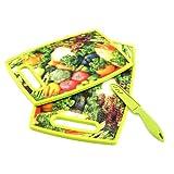 3-teiliges Küchen Set: 1 großes & 1 kleines Schneidbrett / Frühstücksbrettchen, 3D Gemüse-Motiv ,1 Küchenmesser mit 9cm Klinge, Servierbrett, Brettchen, Kunststoff