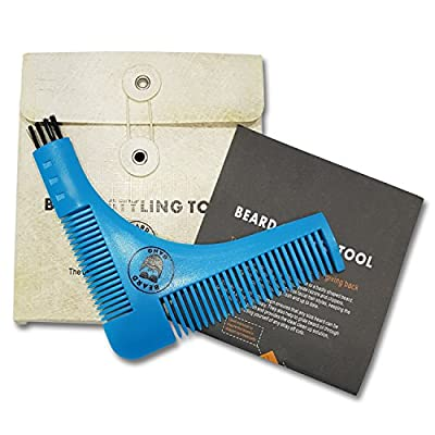 Beard Gang - Beard Shaping Template Tool for Styling Shaping Comb - Beard Shaper Grooming Beard Template Tool For Perfect Hairline Edging Line up and Neckline Symmetry - Great Men's Gift - With Brush End for Cleaning