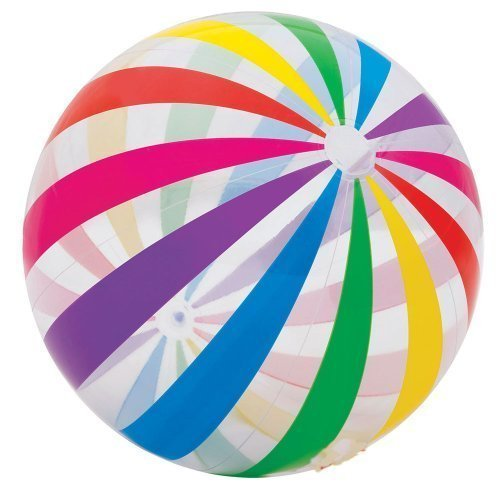 INTEX Jumbo Inflatable Glossy Big Panel Colorful Giant Beach Ball | 59065EP by Intex [Toy] by Intex (Big Beach Ball)
