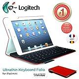 Logitech Ultrathin et protection Folio Clavier Case avec Auto Wake / sommeil pour iPad Mini 1, 2, 3 - Francais AZERTY Layout - dans Mars Rouge