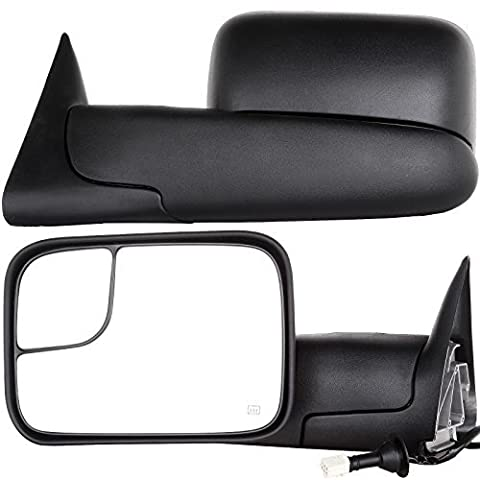 Scitoo Towing Mirrors For 98-01 Dodge Ram 1500 98-02 Ram 2500 3500 Power Heated W/Support Brackets Side View Mirror Pair Set by Autodayplus