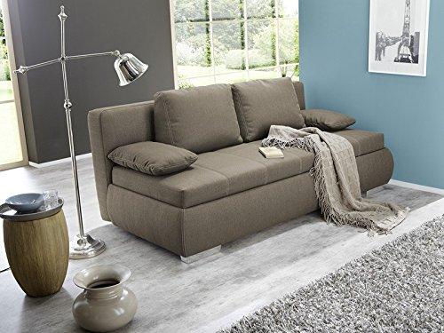 Dauerschläfer Schlafsofa Merlin 210x112cm hellbraun, Sofa Boxspring Couch Doppelliege Schlafcouch