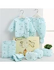 SHISHANG Ensemble de 7 pièces Boîte cadeau pour bébés Boîte cadeau pour bébé en coton pur Enfant garçon adapté pour 0-3 mois Boîte cadeau pour nouveau-nés Coton pur (100%) Forfait cadeau Four Seasons Jaune et bleu