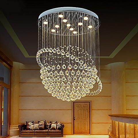 Luxus LED Kristall Kronleuchter Regen Drop Clear Jewel Kristall Deckenverkleidung Edelstahl Chassis Für Esszimmer & VillaLED Patch Lichtquelle (Carry LED Patch Lichtquelle) ( Color : D-40 )