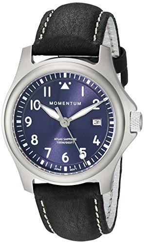 Momentum Men's 'Atlas 38' Quartz Titanium and Leather Watch, Color Black (Model: 1M-SP00US2B)