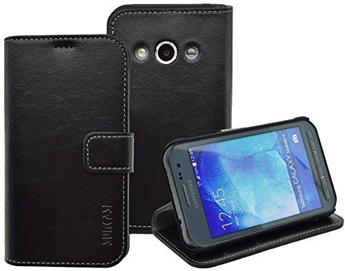 Samsung Galaxy Xcover 3 (SM-G388F) - Suncase Book-Style (Slim-Fit) Ledertasche Leder Tasche Handytasche Schutzhülle Case Hülle (mit Standfunktion und Kartenfach) schwarz