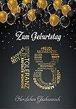 Elegante Glückwunschkarte A5 Geburtstag Geburtstagskarte mit Nummer 18 und Glückwünschen Schwarz Gold zum 18. Geburtstag