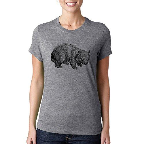 Stencil wombat cute logo Dammen baumwolle t-shirt Grau