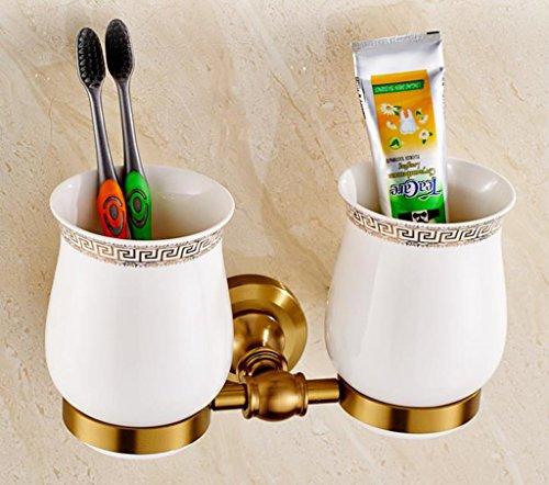 Preisvergleich Produktbild ZHANGY Zahnbürstenhalter Badezimmer Wand Tasse Vintage Gold Porzellan Tasse Zahnpasta Zahnstange Badezimmer Veredelung