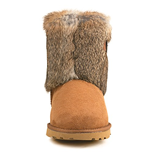 Shenduo - Boots fourrées de mouton, Bottes de neige femme doublure chaude de laine D13030 Marron