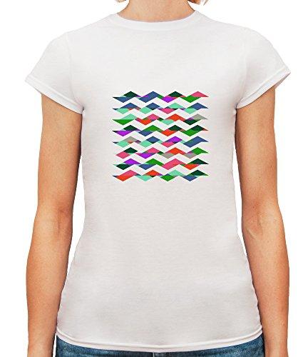 Mesdames T-Shirt avec Coloured Ripples Art Illustration imprimé. Blanc