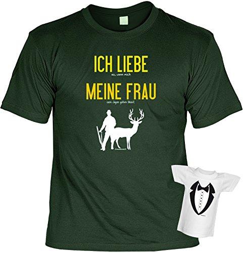 Jäger T-Shirt Ich liebe meine Frau bei der Jagd Shirt bedruckt Geschenk Set mit Mini Flaschenshirt (Trikot-jäger)