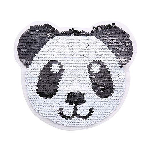 Applique kleidung patch aufkleber reversible nähen panda flip pailletten tuch