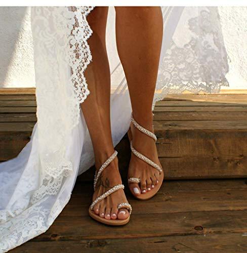 LCCYJ Frauen Flache Sandalen Böhmen Vintage Jeweled Perlen Zehe Ring Gladiator Sandalen römische Schuhe Strandschuhe Perle Flache Unterseite Clip Toe Flip Flop Zehentrenner Schuhe,01,38