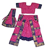 #7: WTR Bharatanatyam Dress For Kids For Fancy Dress Competitions Cultural Functions 7 to 9 Years Pink