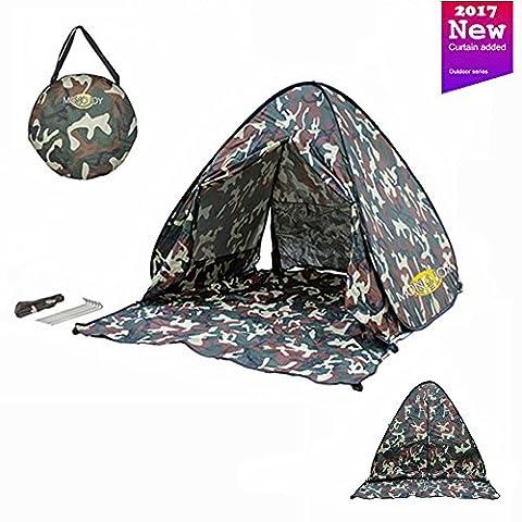 Tente pop up Monojoy Tente de plage automatique extérieur portable Tente de nouvelle génération avec rideau Sun Abris pour camping pêche pique-nique de Définir, camouflage