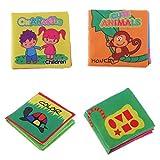 MagiDeal 4er Set Baby Spielzeug Stoffbuch mit Ton Bilderbücher Spielbuch Entdeckungsbuch Fühlbuch Beste Geschenk für Geburt Baby Jungen Mädchen