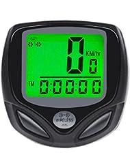 Fahrradcomputer Kabellos iRegro drahtloser Tachometer wasserdicht Fahrradtacho, LCD-Hintergrundbeleuchtung-Bewegung-Sensor erkennt die aktuelle Echtzeitgeschwindigkeit und Distanz