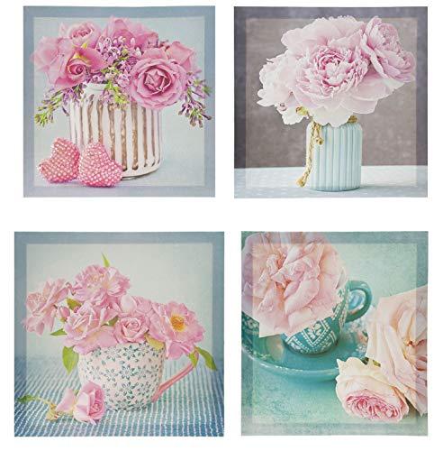 Set aus 4 Bildern, Bild auf Leinwand, Motiv Rose/Blumen, Set mit Kunstwerken, modern, 4 Teile sortiert, Maße je 28 x 28 cm Rosé - Bild Rosa Rosen