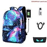 Unisex Mode Rucksack, MFEU Galaxy Schultertasche Oxford Stoff Schule Laptoptasche Rucksack Reise Daypack mit Fluoreszenz (USB + Black Pen Bag + Diebstahlsicherung)