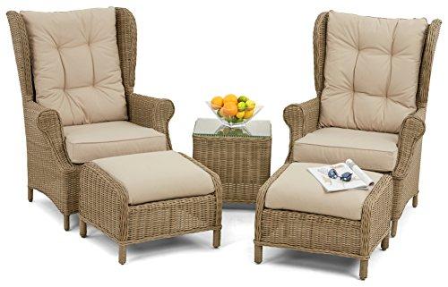 5-Teilieges Lounge-Set mit Rattan Winchester-Stühlen mit hoher Rückenlehne, Naturton -