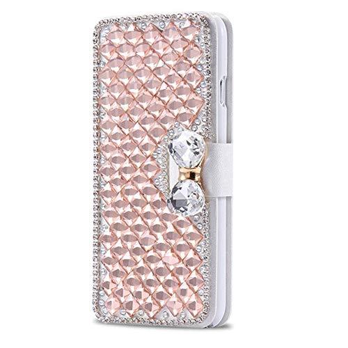Karomenic kompatibel mit iPhone 5C PU Leder Hülle 3D Glitzer Diamant Handyhülle Brieftasche Durchsichtig Schutzhülle Klapphülle Magnet Ledertasche Bumper Wallet Flip Case Etui,Rose gold (Iphone Strass 5c-fällen)