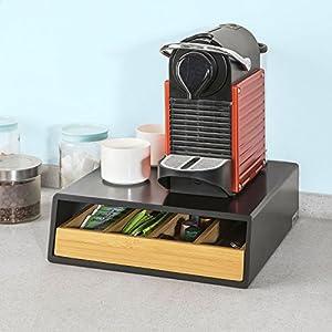 SoBuy FRG280-Sch Boîte de Rangement à Tiroir pour Capsules de Thé et café Boîte à Capsules de Café, Boîte à Thé L30xP31xH10cm