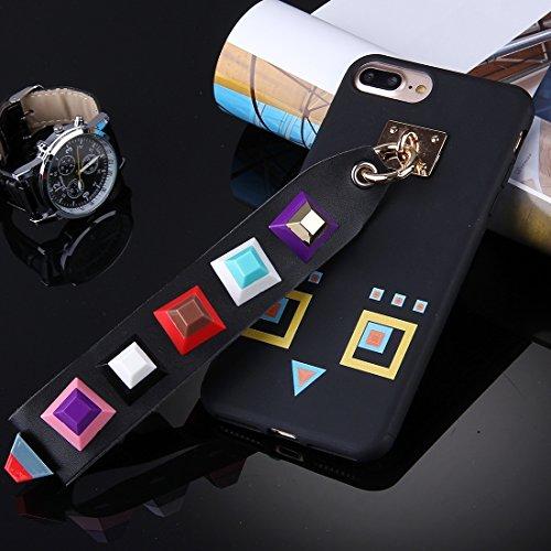 YAN Für iPhone 7 Plus Orange quadratisch geformte Augenmuster Soft TPU Schutzhülle mit Niet Lanyard ( SKU : Ip7p1675h ) Ip7p1675b