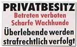 PST-Schild - Privatbesitz Betreten Verboten scharfe Wachhunde Überlebende werden strafrechtlich verfolgt - Hund Schild Warnschild Warnzeichen Arbeitssicherheit Türschild Tür Kunststoff Geschenk Geburtstag