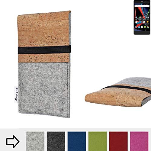 flat.design Handy Hülle SAGRES für Archos 55 Diamond Selfie Lite handgefertigte Handytasche Filz Tasche Schutz Case fair Kork