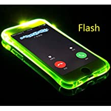 Galaxy S6 Edge Funda, Cool Flashing Light UP To Remind Incoming Call Slim Carcasa by Phone's LED Refraction, TAITOU Awesome Soft TPU Thin Phone Case For Samsung Galaxy S6 Edge Green