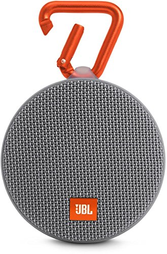 JBL Clip 2 Wasserdichter Tragbarer Wiederaufladbarer Lautsprecher mit IPX7 Wasserschutz, Aux-Konnektivität und Integrierter Freisprechfunktion - Grau