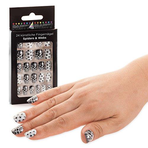 ne & Spinnweben Schwarz-Weiss - hochwertige künstliche Nägel Kunstnägel Nails Tips zum Aufkleben Halloween (Lila Und Weiße Halloween-nägel)