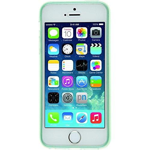 Coque en Silicone pour Apple iPhone 5 / 5s / SE - brushed vert pastel - Cover PhoneNatic Cubierta + films de protection vert