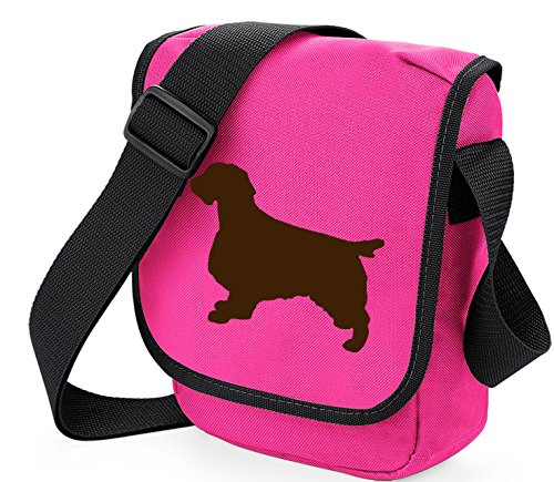 Bag Pixie - Borsa a tracolla unisex adulti Brown Dog on Pink Bag