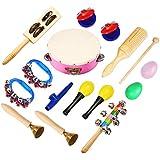Instrumentos musicales Niños Set, nasum, 15unidades Madera Set De Percusión Impacto juguete para niños juguetes ritmo Juego de banda para Guardería Bonito diseño