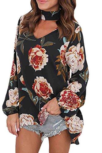 Mupoduvos Frauen IM Puff Ärmel Schulterfreien Bluse Blumenmustern Lockeren T - Shirt - Tee und Größe Black M (Blumen-bluse Puff-Ärmel)