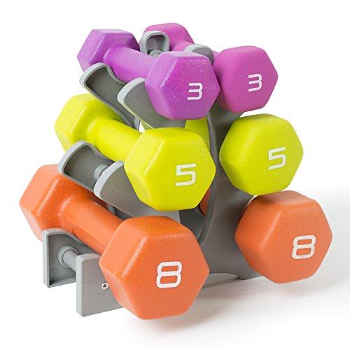 Tone Fitness Neopren-Hantel-Set mit Ständer, ca. 32 kg Gewichte (Cap Hantel Gewicht Set)