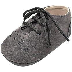 Zapatos De Bebé, Amlaiworld primeros pasos para niño niña zapatillas de bebé antideslizante de encaje hasta zapatos 0-18 Mes (Tamaño:0-6Mes, Gris oscuro)