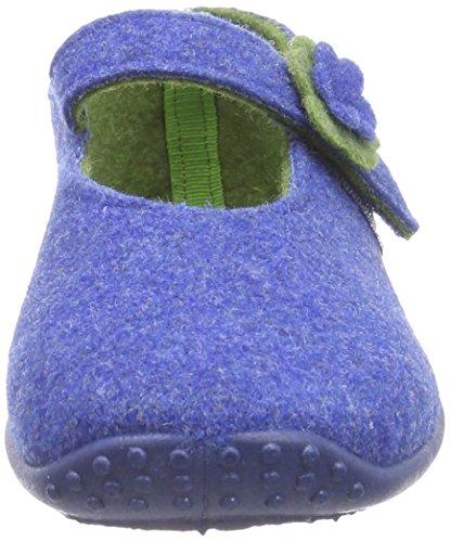 Fischer Klett Mädchen Flache Hausschuhe Blau (555 blau)