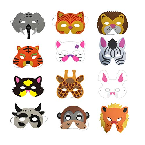 Toyvian 12 stücke Schaum Tier Maske Kinder Dress up Maske für Kinder Kinder Geburtstag Party kostüm (zufälliges Muster)