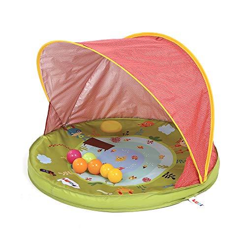 Ludi | 90011 | Tente anti-UV Abribaby | Protège du vent et du soleil | 6 balles incluses | Abri et pataugeoire | Capote anti-UV 50 | Dès la naissance
